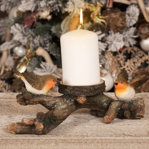 Robin Redbreasts On A Log Candle Holder Christmas Decoration Ornament